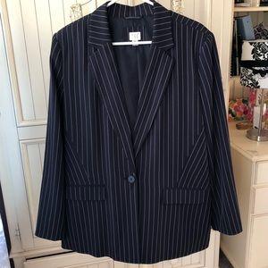 A New Day Women's Blazer Jacket Navy Striped XL